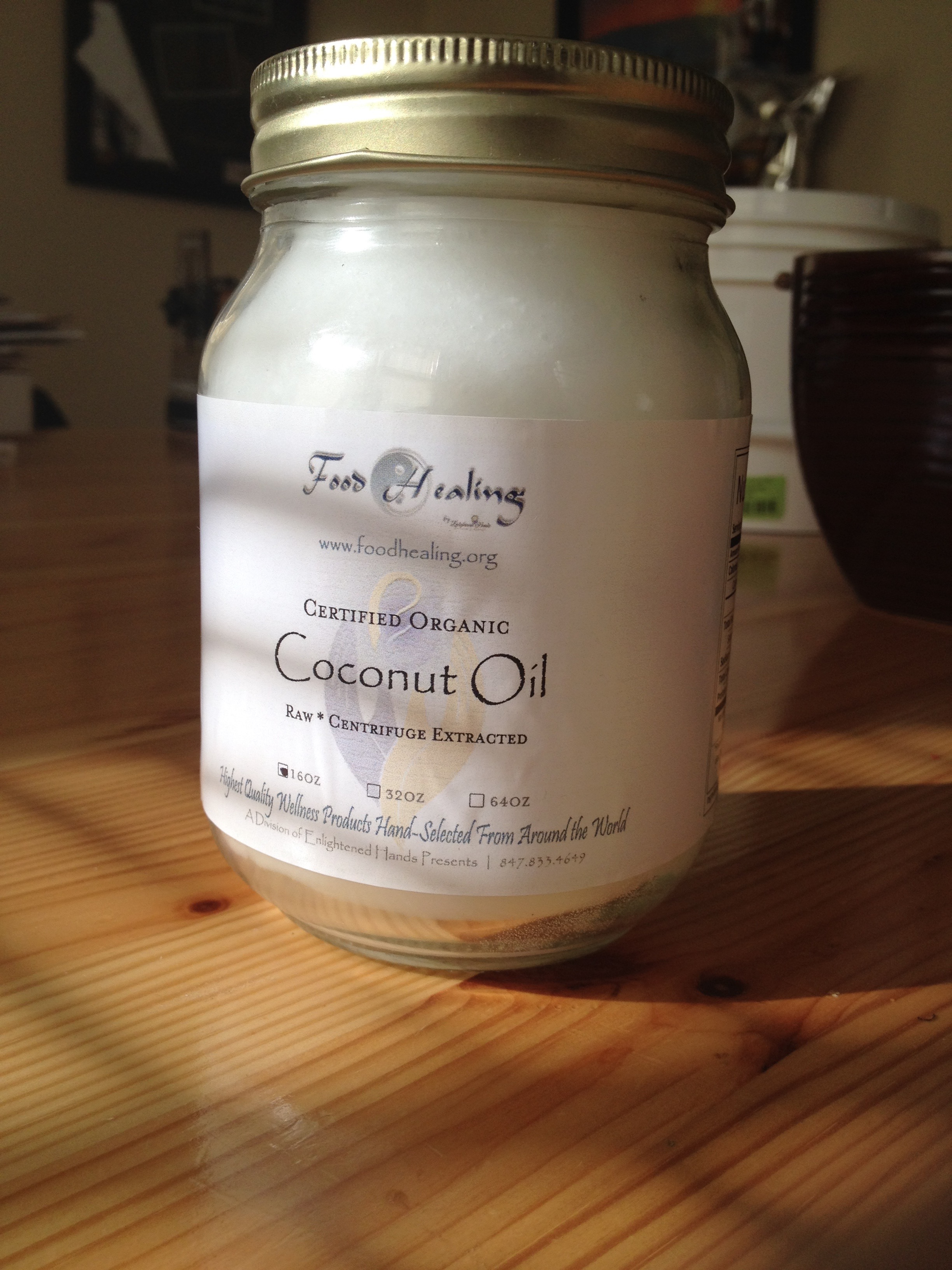 Coconut Oil, Raw Organic Centrifugal, Extra Virgin 16oz