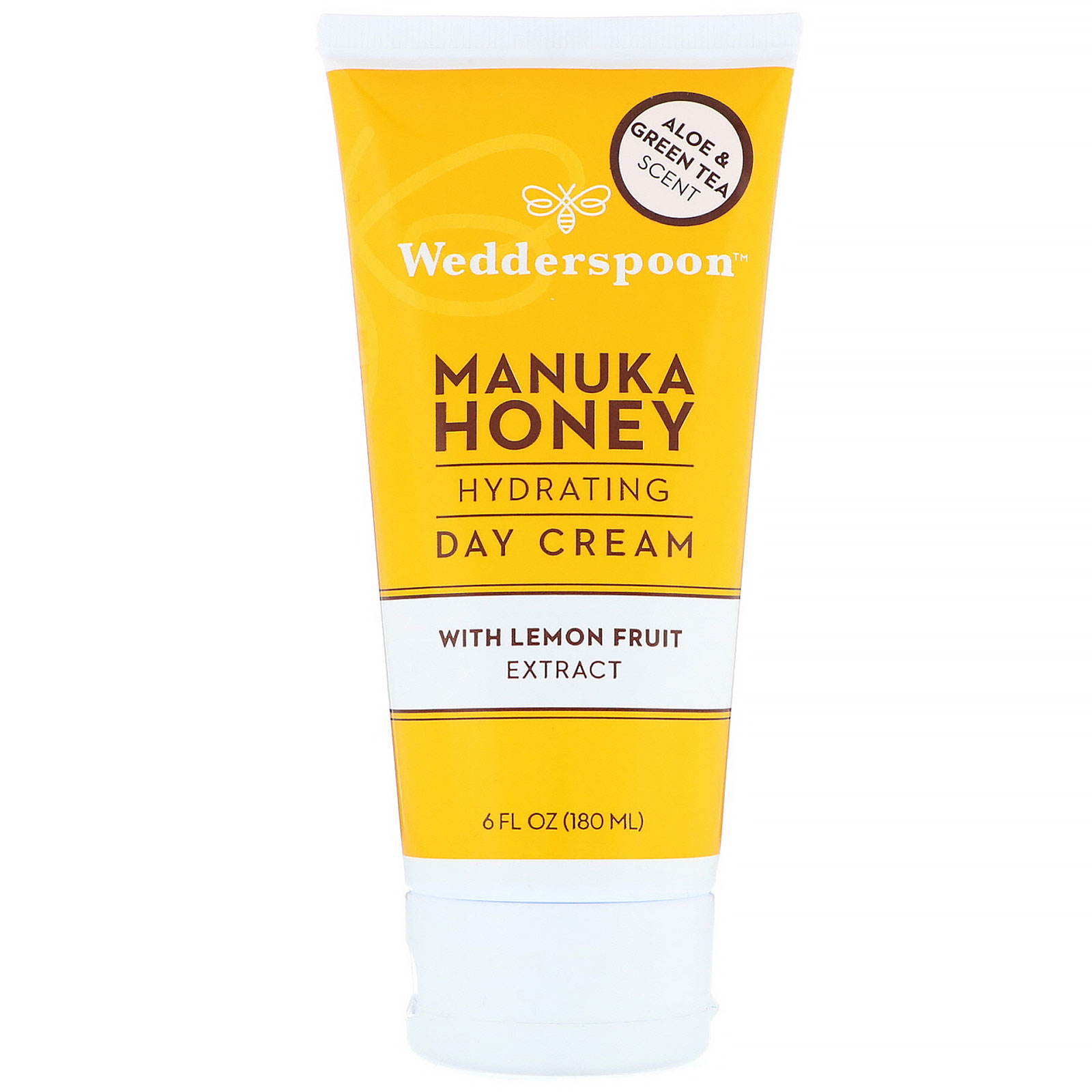 Wedderspoon, Manuka Honey, Hydrating Day Cream with Lemon Fruit Extract, Aloe & Green Tea Scent, 6 fl oz (180 ml)