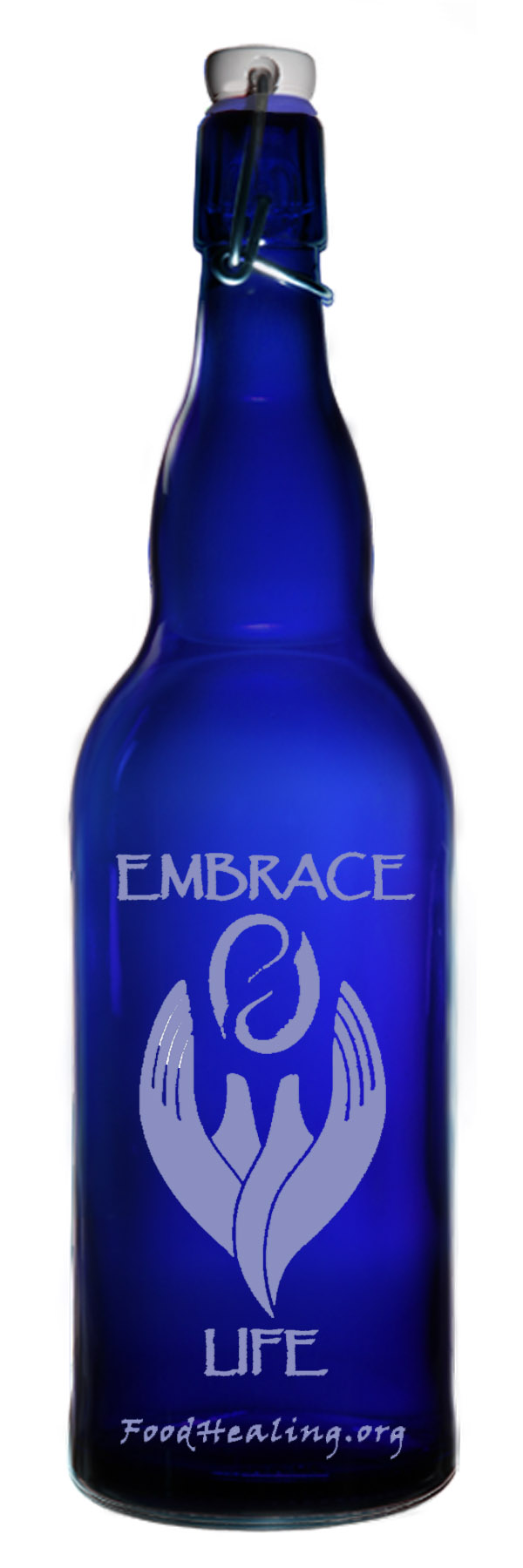 blue glass water bottle embrace life 1 2 liter. Black Bedroom Furniture Sets. Home Design Ideas