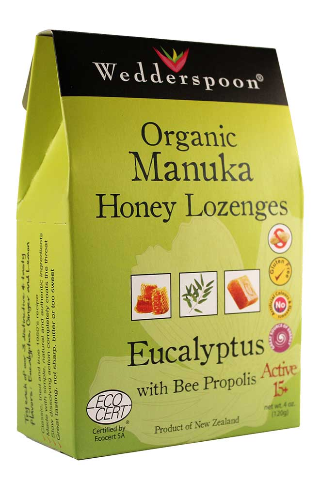 Manuka Honey 5+ Eucalyptus Bee Propolis Lozenges, Wedderspoon